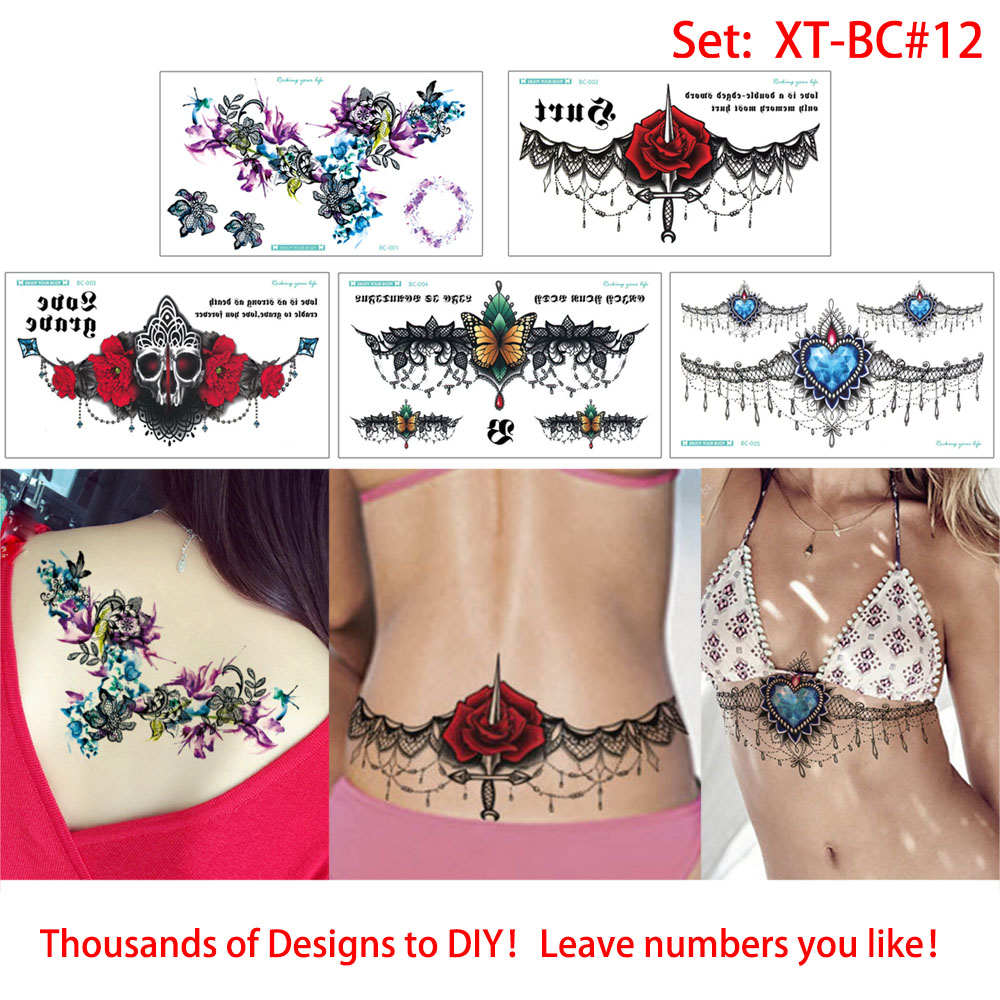 glaryyears 5 Sheets/set Sternum Tattoo Sticker Chest Jewelry Wing Lotus Decal Temporary Tattoo Cool XT-BC Body Art Sticker Henna