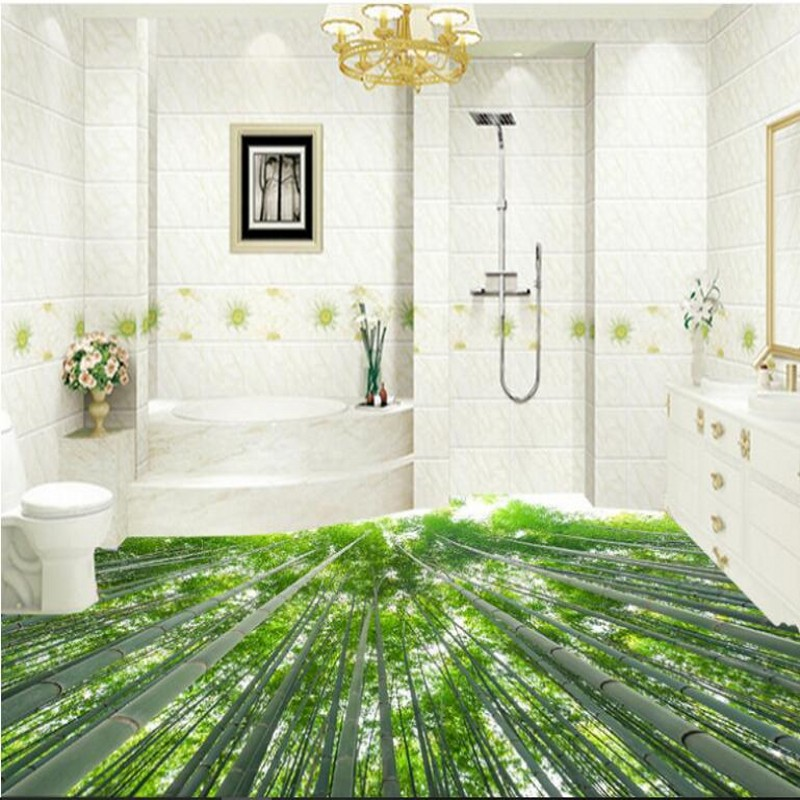 beibehang Custom large-scale murals bamboo security safe fresh beauty stereo bathroom floor thickening waterproof wear pvc film ...