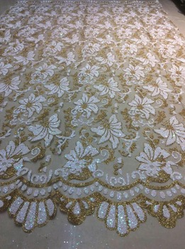H-26Luxurious wedding dress fabric of Nigeria shining White plus gold sparkle glued glitter african tulle mesh lace for wedding