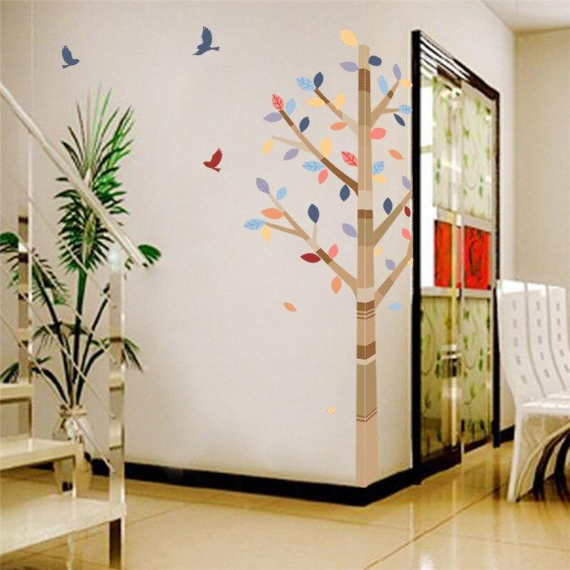 Floresta Árvore Colorida Aves Pvc adesivos de parede casa decoração do Quarto Sala de TV Sofá Fundo adesivos de parede criança Adesivos de parede