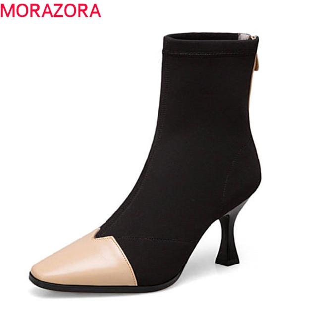 37739c06a8 MORAZORA 2018 tamaño grande 33-43 mujeres del cuero genuino botas colores  mezclados moda tobillo