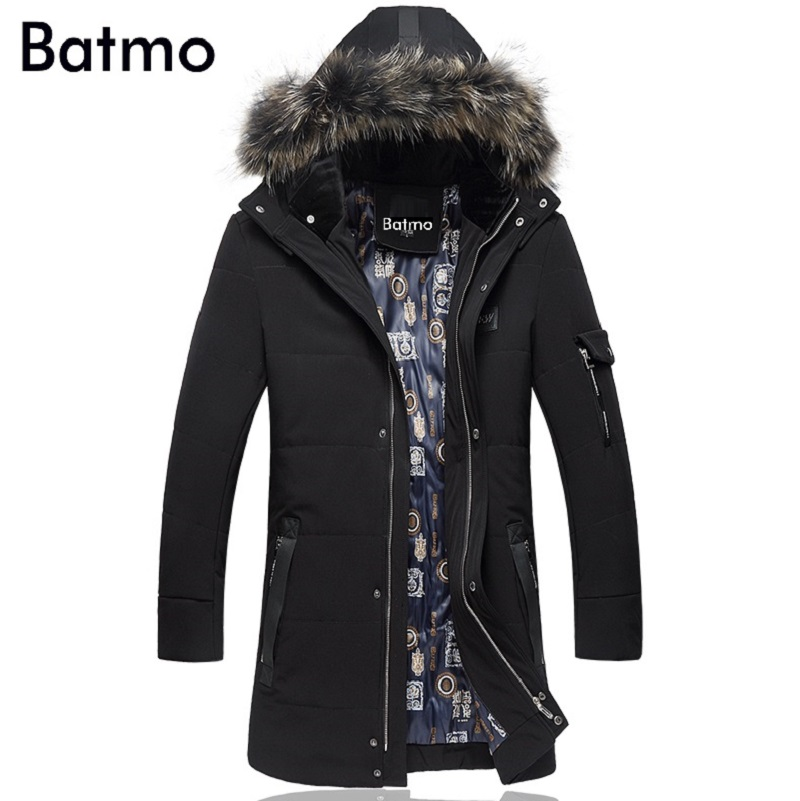 Новинка 2017 зимние теплые белая утка вниз черная шляпа съемная длинная куртка мужчин, L, XL, 2XL, 3XL, 4XL, 5XL, 6XL черный зимняя куртка мужская