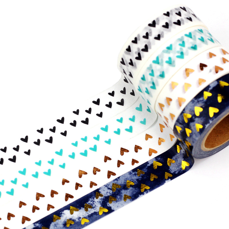 10m Decor Cute Japanese Paper Washi Tape Hearts Set Copper Foil Black Mint Blue DIY Planner Masking Tapes School Office Supplies
