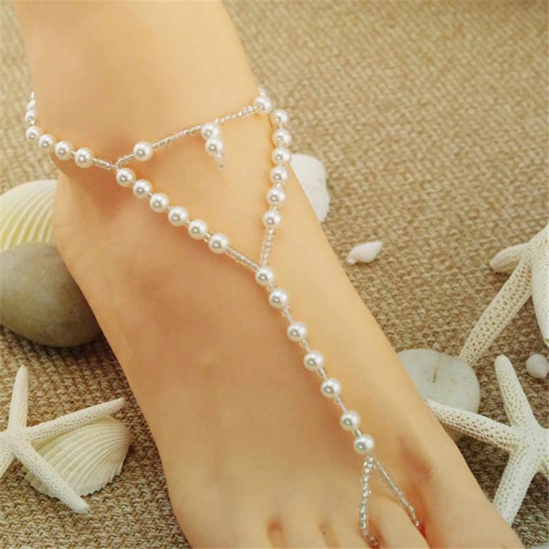 Ręcznie symulowane perły obrączki bransoletki urok biały kolor koraliki Anklets łańcuch dla kobiet prezent biżuteria stóp