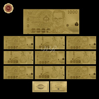 WR Home Accessory Thailand Gold Banknote 24k 999.9 Gold Plated Banknote Paper Quality Art Ornament for Home Decor and Collection