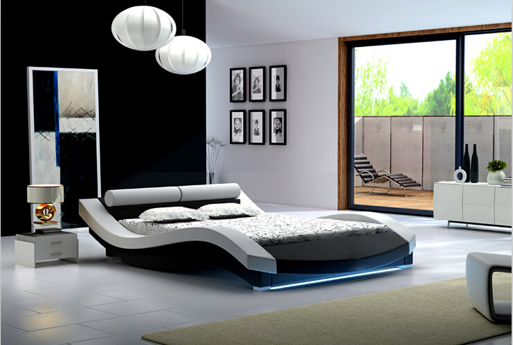 Modern Bedroom Furniture Bedroom Furniture Headboard Bed With Led Light China Mainland