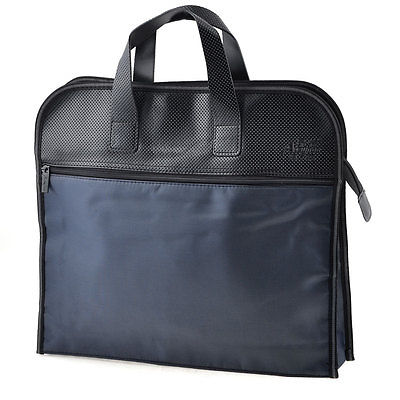 Compact Dark Blue Zippered Faux Leather Handle Conference File Contract Bag dark blue 11ct 89 37 f128
