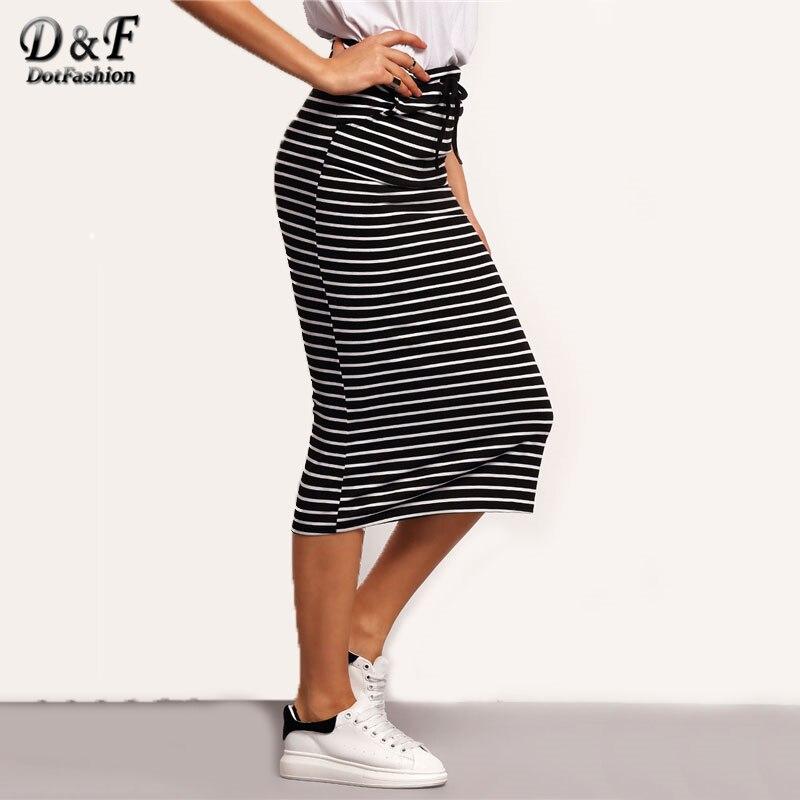 Dotfashion Ladies Drawstring Waist Horizon Striped Skirt 2017 Autumn Black Pencil Skirt Women Casual Long Skirt