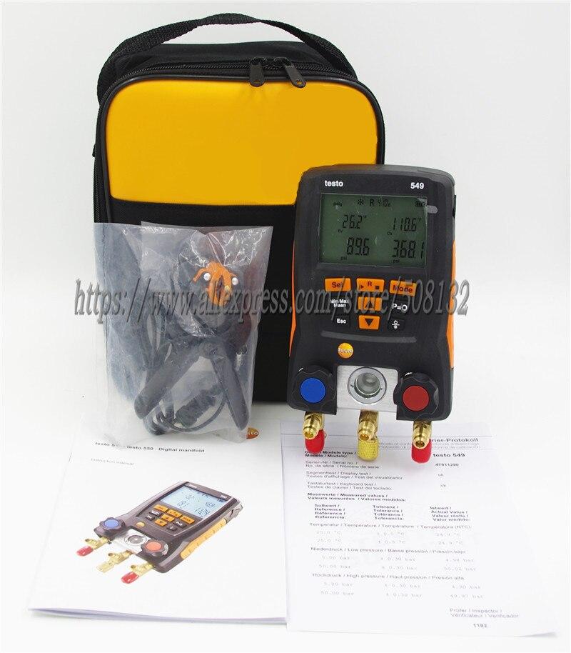 TESTO 549 Digital Manifold Gauge Meter 2 Valves HVAC 0560 0550 TESTO Clamp probe 0613 5505