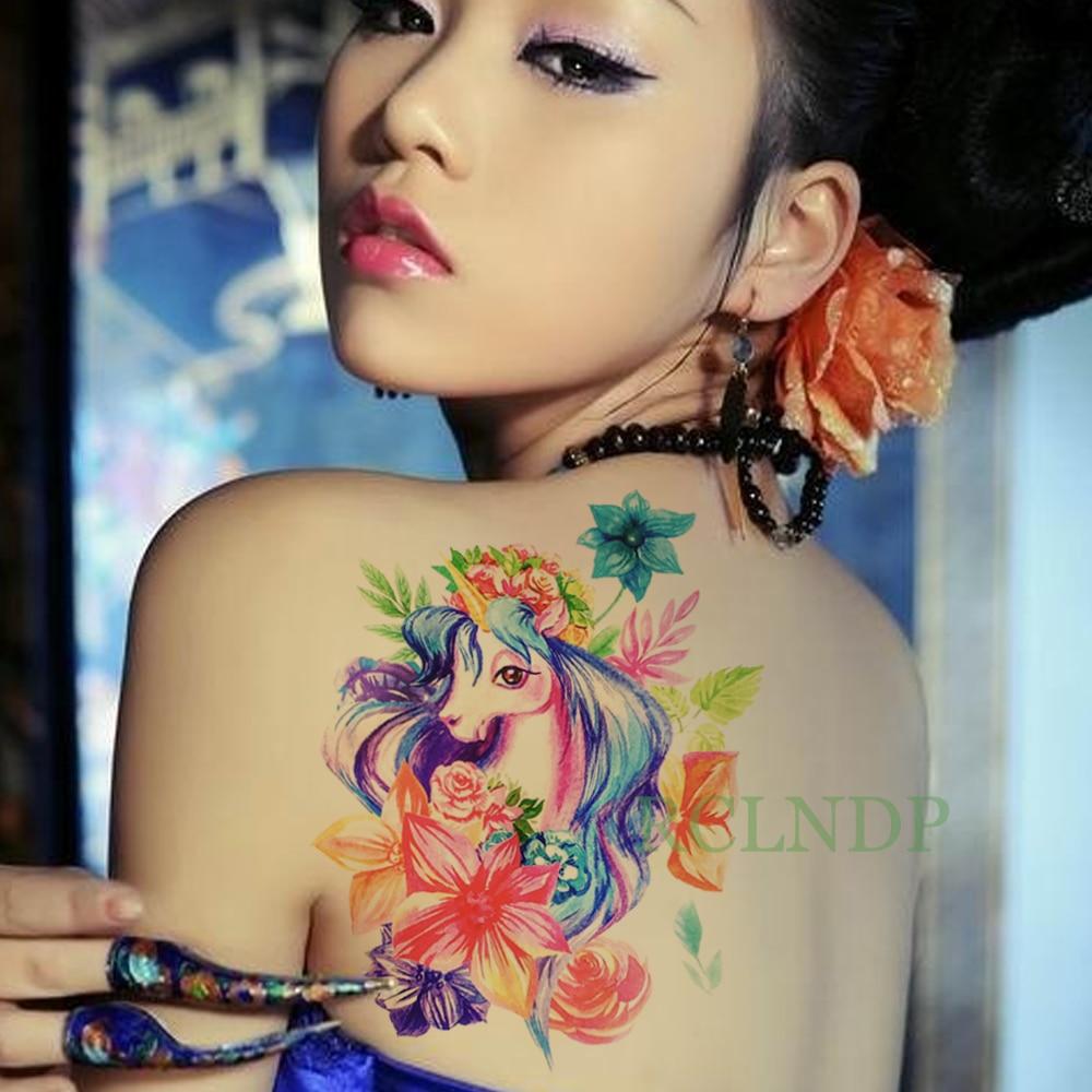 Temporary Tattoo Sticker Large Size Body Art Sketch Flower: Waterproof Temporary Tattoo Sticker Unicorn Rose Flower