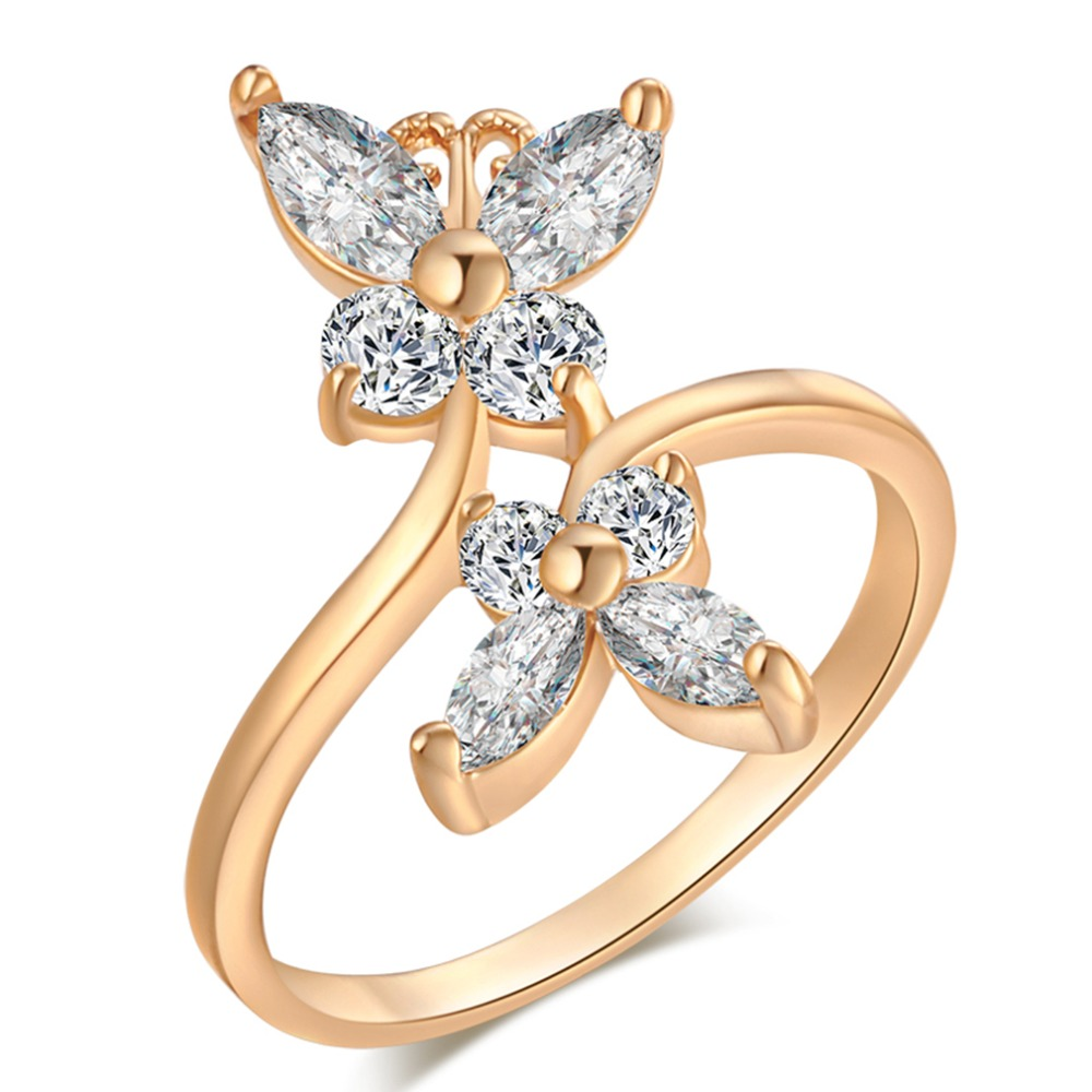 Butterfly Ring Crystal-Rings Finger-Bow Wedding-Engagement Gold-Color Women Fashion Austria