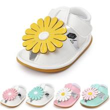 2fdf43b22236a1 New Summer Colorful Sunflower Baby girls sandals Pu leather sandals hard  sole infant Crib shoes baby