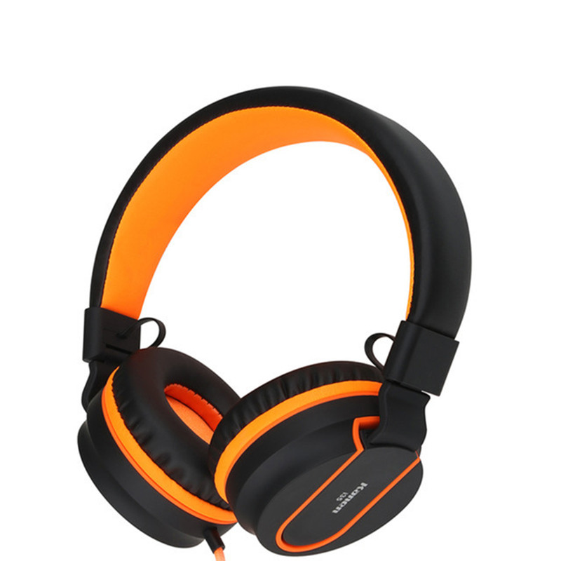 Cinpusen I35 Foldable Wired Headset Girls Headphone with Mic Deep Bass Headband Headphones for Phone Computer Orange Auriculares rock y10 stereo headphone earphone microphone stereo bass wired headset for music computer game with mic