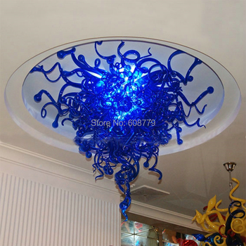 Gratis Verzending Hoge Plafond Hanger Blauw Kristal Kroonluchter