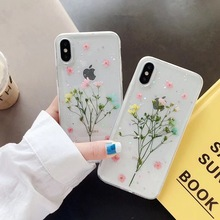 Dried Real Flower Cases For iPhone X XS Max XR Case Handmade Clear Soft Glitter Back Cover 6 6S 7 8 Plus Phone