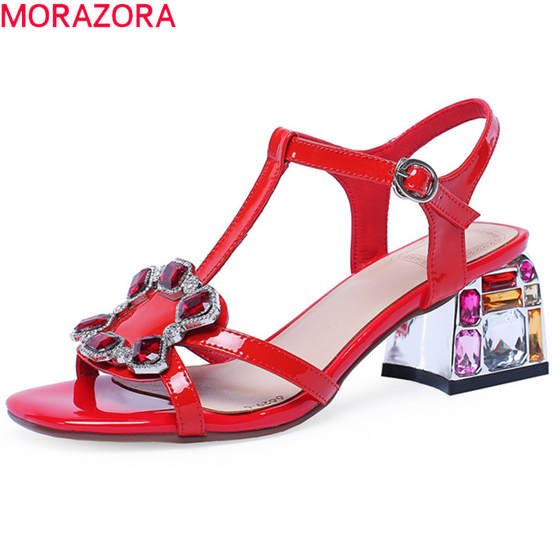 MORAZORA 2019 top quality patent leather shoes women sandals crystal square heels summer shoes ladies fashion