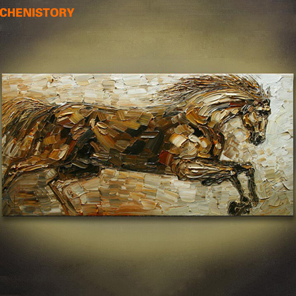 Sans cadre Résumé Running Horse Animaux Peint À La Main Peinture À L'huile Mur Art Moderne Image Palette Couteau Peinture Pour La Décoration Intérieure