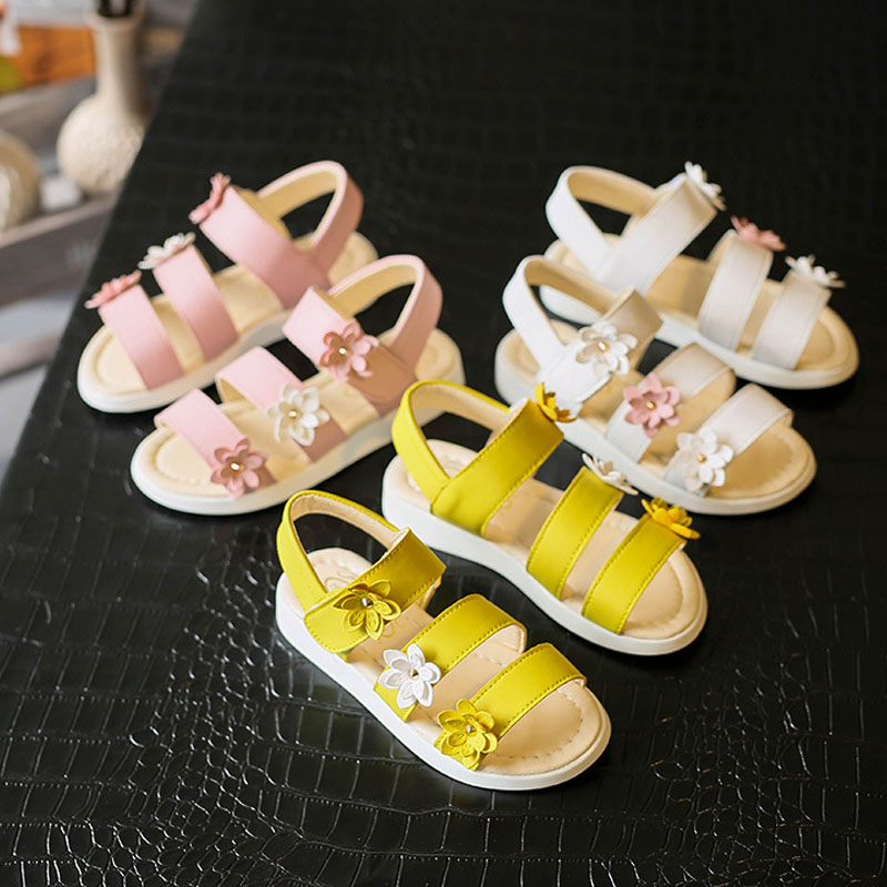 HITOMAGIC Kids Sandals Girls Shoes Princess With Flowers Flat Heeled Baby Girl Summer Sandals Kids Shoes Childrens Footwear