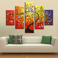Hand painted Color Flower Oil Paintings on Canvas Handmade Pallete Apples Tree Painting Modern Abstract Wall Art 5 Piece Picture