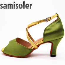 Samisoler Green New Cloth Collocation Shine Ribbons Ballroom Fashion Dance Women Latin Competition Shoes