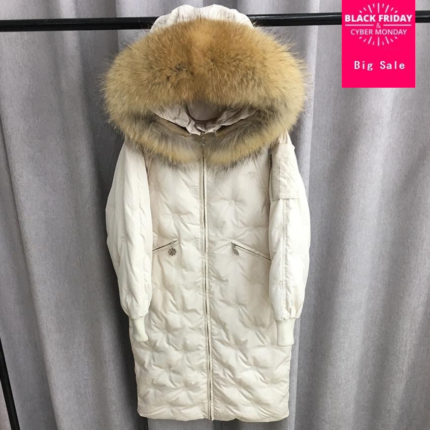 Winter fashion snow pattern embroidery big natural real fur collar duck   down     coat   female stitching hooded longer warm   down   wq244