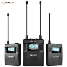 COMICA CVM-WM300A/C UHF 96-channels Metal Wireless Mono/Stereo Lavalier Interview Microphone with Built-in Battery for Canon Nik