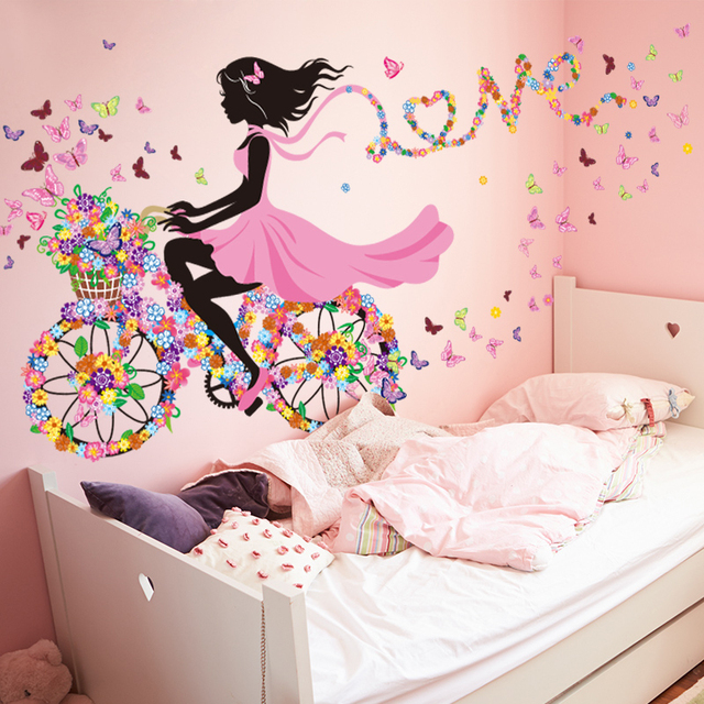 Nature series flower butterfly girl on bicycle removable pvc diy wall art mural sticker decal decor