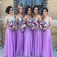 Custom Made Lavender Bridesmaid Dress Spaghetti Straps Sweetheart Long Bridesmaid Dresses For Wedding Vestido De Festa