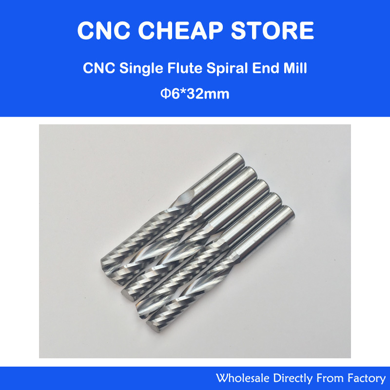 Free shipping 5 pcs Carbide endmill single flute spiral CNC router bits 6mm 32mm  цены