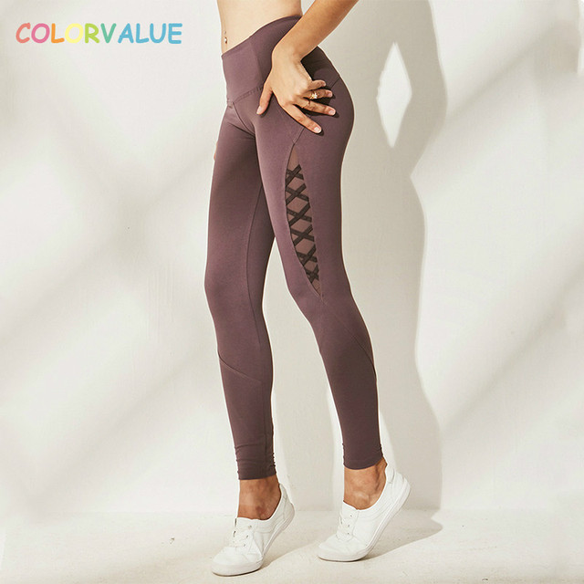 b5abe84132b20 Colorvalue Side Patchwork Sport Gym Leggings Women Quick Dry Training  Fitness Tights Running Yoga Pants with Triangle Crotch