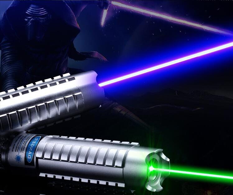 High Power 450nm 50000m Blue Laser Pointer 532nm Green Laser Pointer Burning Match/Paper/dry Wood Burn Cigarettes+5 star Caps new high power military 532nm 2w 2000mw green laser pointer pen zoomable burning matches pop balloon lazers charger gift box