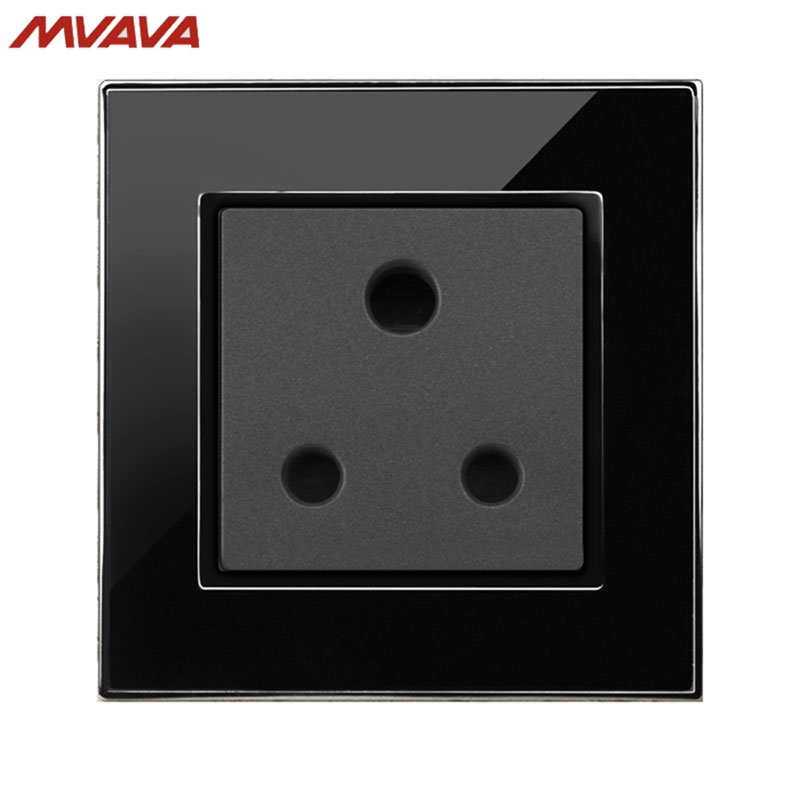 MVAVA 15A 3 Round Pin Socket South Africa Standard Wall Plug Decorative Outlet Luxury Mirror Black Panel Free Shipping