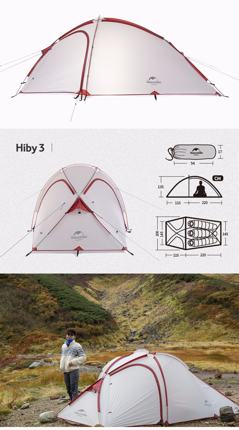 NatureHike Hiby Family Tent 2-3 Person Waterproof Hiking
