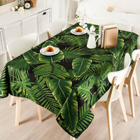 Countryside Pastoral Green Plants Linen Thick Pound Tablecloth Restaurant Living Wedding Villa Grass Square Table Cloth