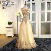 VENSANAC 2017 New A Line Embroidery Long Evening Dresses Sleeveless Luxury Crystals Party Prom Gowns