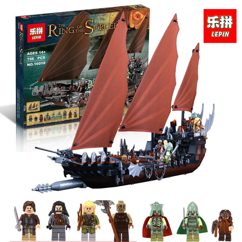 LEPIN 16018 756Pcs The Lord of the Rings Pirate Ship Ambush Model Building Block Kids Brick Christmas Compatible legoING 79008 16018 lepin lord of the rings the ghost pirate ship model building blocks enlighten figure toys for children compatible legoe