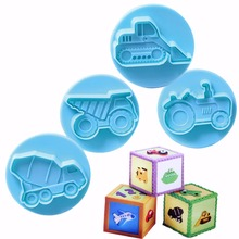 4Pcs Car Shape Cake Cookie Baking Mold Plastic Fondant Cutter Decorating Tools Biscuit Pastry