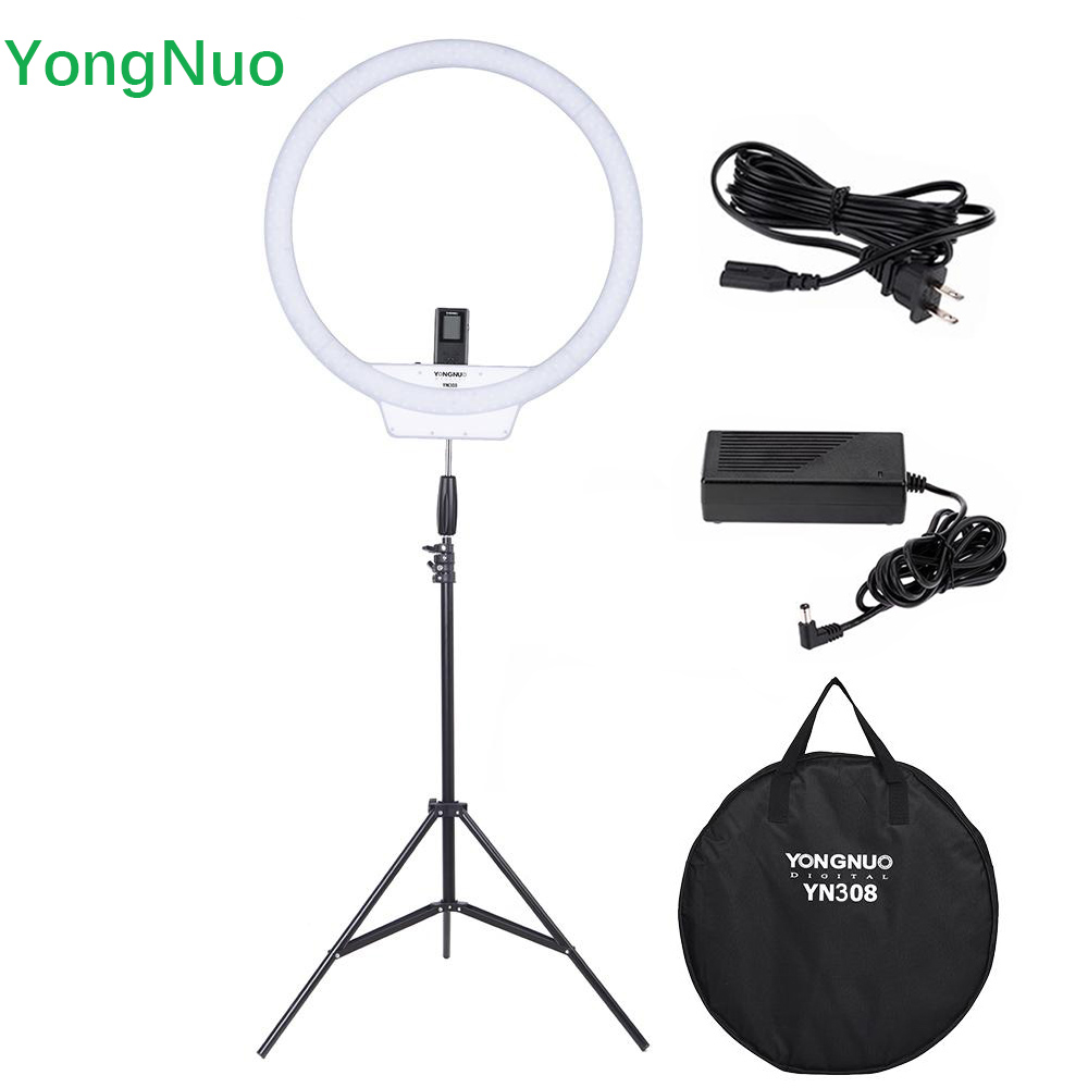 New YONGNUO YN308 Wireless LED Video Light Remote Ring Light 3200K 5500K With 2m Light Stand