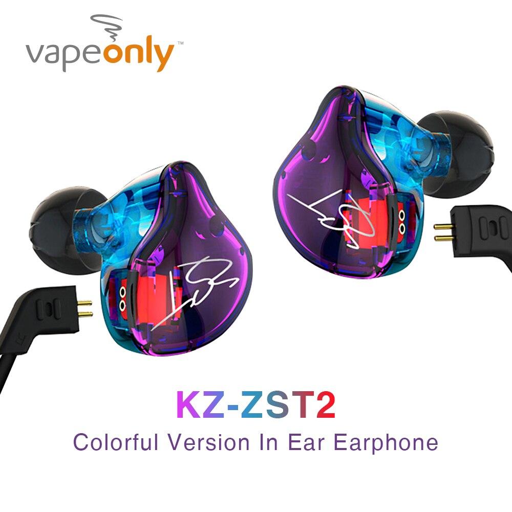 Vapeonly KZ ZST Pro In Trasduttore Auricolare Dell'orecchio Colorful Hybrid HIFI Bass Auricolare Auricolari con Il Mic Armature Dual Driver Auricolari Sportivi