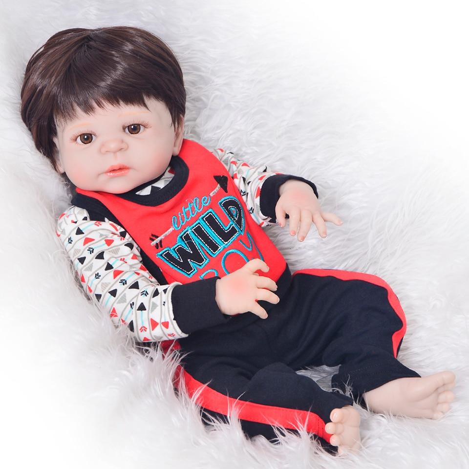 Muñecas recién nacidas 23 ''vinilo de silicona completo Reborn Baby Dolls Reborn fuerte Bebe Bonecas muñecas para niños regalos de cumpleaños-in Muñecas from Juguetes y pasatiempos    1