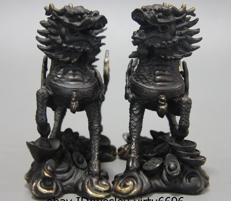 Chinese Feng Shui Copper silver Fu Foo Dogs Lion Pair jade statue
