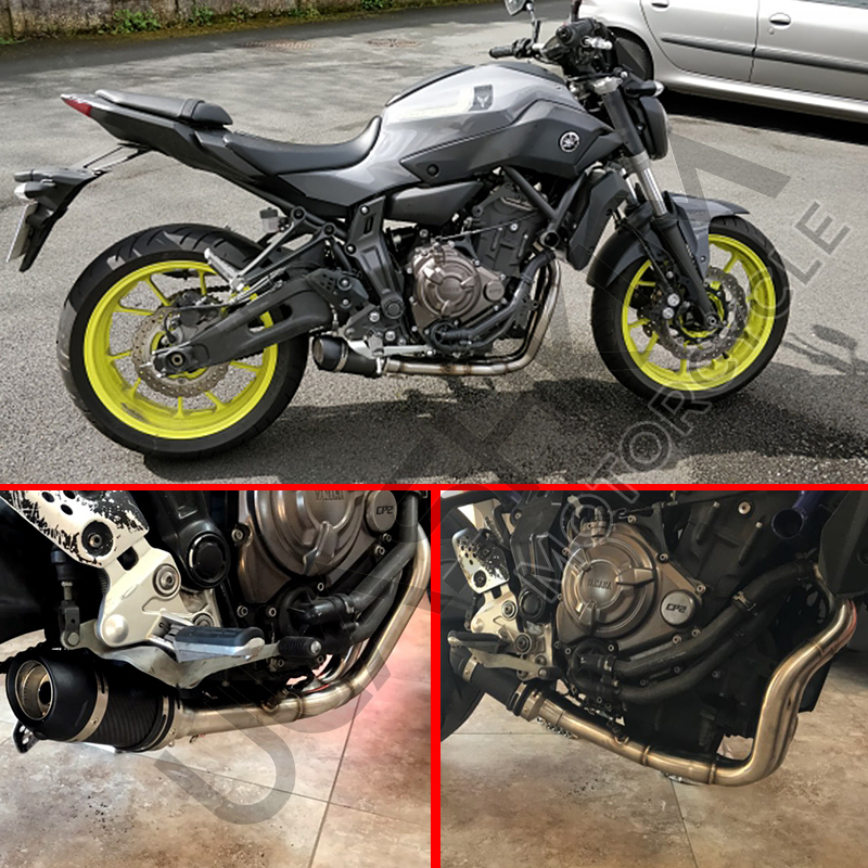US $79 0 |E Mark MT07 FZ07 motorcycle Exhaust Full system FOR Yamaha MT 07  FZ 07 Tracer 2014 2018 with Muffler XSR700 2016 2017-in Exhaust & Exhaust
