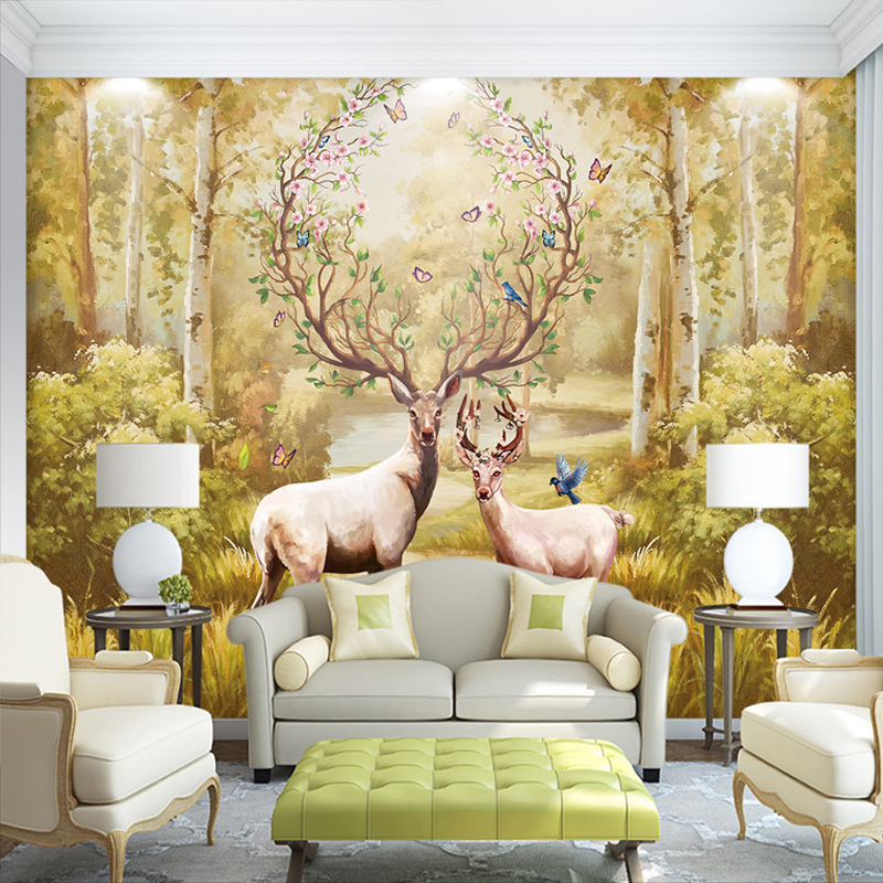 3D Photo Wallpaper Custom Nordic Forest Oil Painting Elk Large Murals Non-woven Wallpaper For Living Room Sofa Murales De Pared