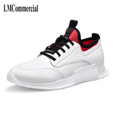 New spring men's casual shoes white leather all-match thick shoes male trend of Korean shoes men cowhide breathable sneaker fashion spring summer new style keep warm canvas gaiters shoes korean men breathable casual comfortable all match skate shoes
