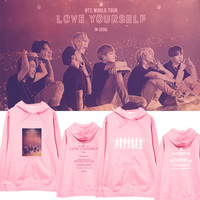 BTS Kpop Love Yourself album Pink loose casual Hoodies Women Sweatshirts Female Fans Hoodies Women pullovers Harajuku Clothes