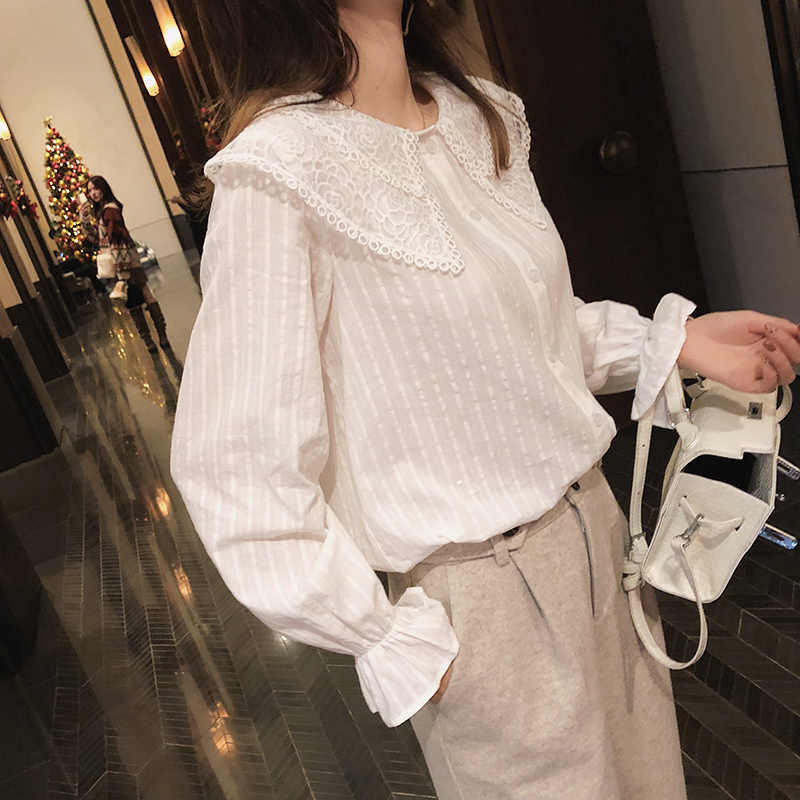 MISHOW 2019 autumn sweety blouse new fashion causal ruffle sleeve lace Bow neck single-breasted white blouse tops MX18D4515