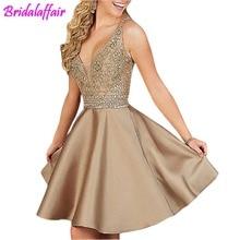 Halter Prom special occasion Dresses Beading Elegant Homecoming Short vestido de formatura Graduation For Women