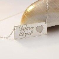 Katı Gümüş Damgalı Iki Isim Aşk Kalp Charm Özelleştirilmiş Kolye Kolye Herhangi Bir Kelime Kazınmış Moda Takı Toptan