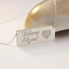 Solid Silver Stamped Two Names Love Heart Charm Customized Necklace Pendant Any Words Engraved Fashion Jewelry