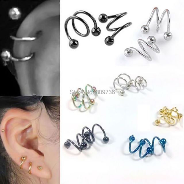 5pcs Ball Surgical Steel Double Spiral Twister Barbell Earring Ear Cartilage Rings Tragus Piercing Jewelry Gauge